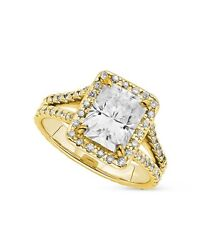 4.05 CT FOREVER BRILLIANT MOISSANITE RADIANT YELLOW HALO ENGAGEMENT RING SIZE 7
