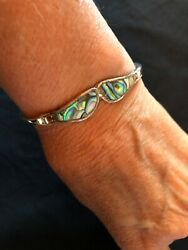 Vintage Silver & Abalone Shell Inlay Hinged Bracelet Small-Marked Alpaca Mexico