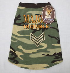 Hip Doggie Major Trouble Green Camo Camouflage Dog Pet Tank Top Shirt NEW w Tags $12.99