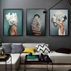 Wall Painting Abstract Flower Avatar Girl Canvas Art Bedroom Living Home Decors $19.99