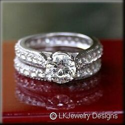 4.75 CT MOISSANITE ROUND FOREVER ONE GHI ETERNITY PAVE WEDDING SET RING