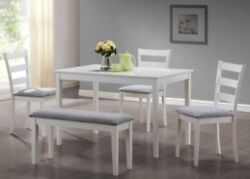 White 5 Pc Dining Set w Bench 3 Side Chairs Kitchen Sets Diningroom Furniture $539.95