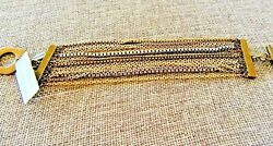 NEW With Tags! Chico's Gold Silver and Black Multi-Strand Chain Bracelet- 7