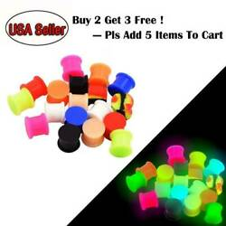 Pair Glow in th Dark  Silicone Ear Plugs Large Ear Gauges Earlets Double Flared