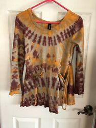 Sacred Threads Boho Brown Yellow Tie Dye Flare Top Slouch Pockets Size Small