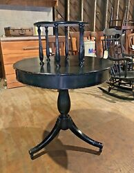 Antique Two Tier Round Center Table Painted Black Vintage Furniture $300.00