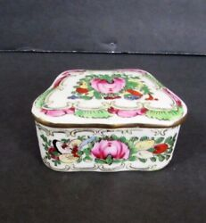 Vintage Hand Painted Chinese Rose Famille Porcelain Trinket Box