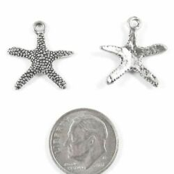 Silver Starfish Charms Metal Beach Sea Star Charm 20Pkg