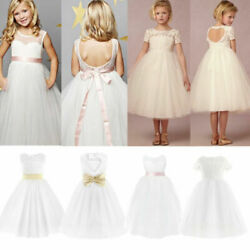 US Girl Flower Dress Bridesmaid Pageant Birthday Formal Party Wedding Gown Dress