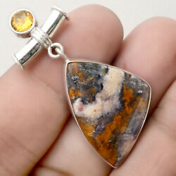 Indian Blanket Jasper & Citrine 925 Sterling Silver Pendant Jewelry PP51403