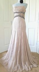 $6000 CARLOS MIELE GORGEOUS BLUSH SILK CHIFFON CRYSTAL BEADS RUNWAY GOWN US 8
