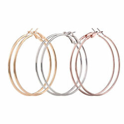 Lot of 3 Pair New Alloy Big Large Round Smooth & Shiny Thin 2.25