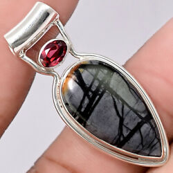 Picasso Jasper and Garnet 925 Sterling Silver Pendant Jewelry PP32906