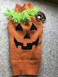 SIMPLY WAG Halloween quot;PUMPKIN FACEquot; with FRINGE Sweater Puppy Dog MEDIUM $16.50