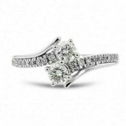 1.68Ct Round Diamond Criss Cross Engagement Wedding Ring In Solid 14K W