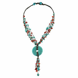 Multi Strand Coral-Turquoise Donut Wax Rope Necklace