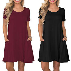 Womens Summer Casual T Shirt Dresses Short Sleeve Loose Swing Dress with Pockets