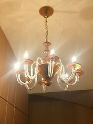 Exquisite Murano Glass Eight Arm Chandelier in Amber Color from Italy