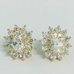 Pretty New Yellow Gold Plated Oval & Round Clear CZ wAccents Stud Post Earrings