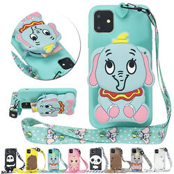 For iPhone 11 Pro Max Xs XR 7 8 3D Cute Bear Animal Coin Purse Strap phone Case $9.49