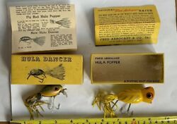 Lot (2) Vintage Fred Arbogast Fishing Lures- Hula Popper & Hula Dancer W Boxes