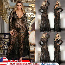 US Womens Sexy Lingerie Maxi Nightgown Dress Babydoll Deep V-neck Sleepwear Robe