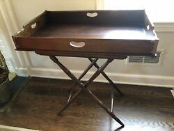 English Victorian Oak Tray Top Butler Table with Folding Stand