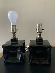 Pair of Vintage Black Bradley Lamps $42.50