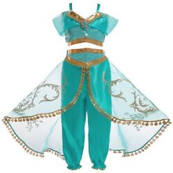 Girls Princess Jasmine Costume Halloween Party Dress Up for girls 2 10 Years $18.98