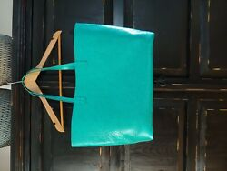 Women's Large Leather Metallic Turquoise Tote Purse Never Full Style