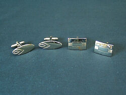 Lot of 2 pair Vintage Anson Cufflinks silver Art Deco square & oval Mens Jewelry