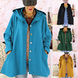 Womens Hooded Trench Coat Winter Buttons Pocket Jacket Tops Outerwear Plus Size $18.04