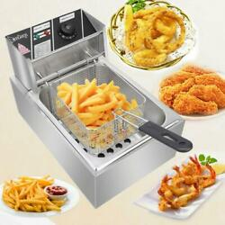 2500W 6L Commercial Electric Countertop Deep Fryer Basket Restaurant 140℉ 392℉