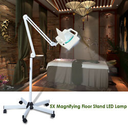 5x Diopter LED Magnifying Floor Stand Lamp Glass Lens Beauty Facial Magnifier $77.90