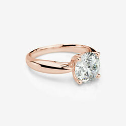 2 CT ROUND BRILLIANT DIAMOND RING WOMEN MODERN 18 KT ROSE GOLD RED COLORLESS