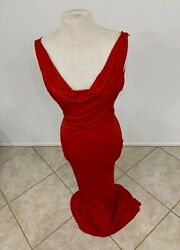 Alexander McQueen Predeath Lipstick Red Bias Cut Gown wDraping - 38 NWOT-SS2007
