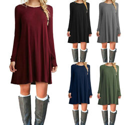 Women's Casual Swing Long Sleeve Loose Tunic Top Mini T-shirt Dress With Pockets