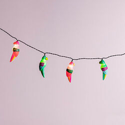 10 Multicolor Parrot Battery Operated Outdoor Tropical Party String Lights $16.99