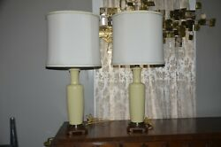 pair of two ceramic table lamps by Paul Hanson creamy yellow color $250.00