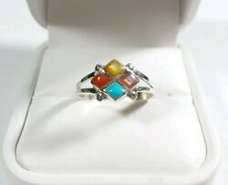 ZUNI BONNIE LEEKELA STERLING TURQUOISE CORAL MOTHER OF PEARL SIZE 8 RING