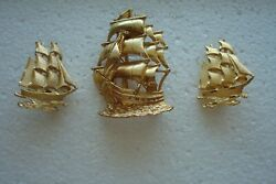 LOT OF 3 GOLD TONE SAILING SHIPS PINBROOCHES UNSIGNED