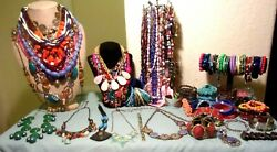 HUGE VINTAGE VIBRANT COLORS  WEARABLE WHOLE JEWELRY LOT GORGEOUS PIECES