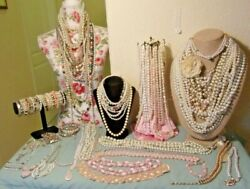 HUGE VINTAGE LOVE SEA OF PEARLS WEARABLE JEWELRY LOT GORGEOUS PIECES
