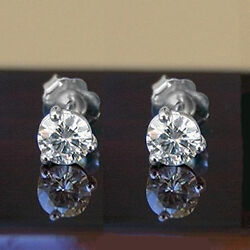 6.00 CT FOREVER ONE MOISSANITE ROUND THREE PRONG MARTINI SOLITAIRE STUD EARRINGS