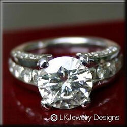 6.00 CT FOREVER ONE GHI MOISSANITE CHANNEL & PAVE WEDDING ENGAGEMENT RING