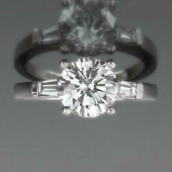 ROUND SHAPE 2.28 CT ACCENTED TRIPLE DIAMOND RING 18 KT WHITE GOLD FLAWLESS VS1