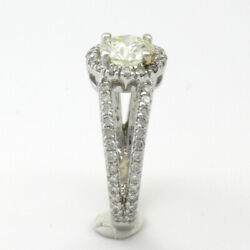 PROMISE SPLIT SHANK HALO DIAMOND RING ACCENTS 2.25 CARATS 14 KARAT WHITE GOLD