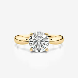 VVS1 D ELEGANT ROUND BRILLIANT DIAMOND RING 14K YELLOW GOLD 1.59 CT SIZE 5 6 7 8