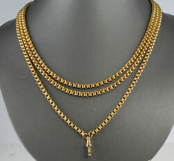 Antique Victorian 9Ct Gold Long Guard  Muff Chain Necklace 39.8g 58 34'' inch