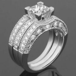 DIAMOND BAND RING CERTIFIED SOLID 14K WHITE GOLD WOMENS ANTIQUE STYLE 1.96 CT